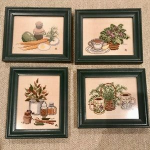 Framed cross stitch set kitchen houseplants